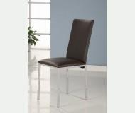 Καρέκλα χρωμίου με δερματίνη καφέ σκούρο - Μ3-dark brown